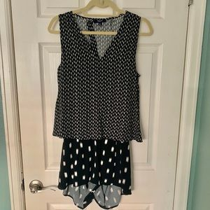 Madewell Small Romper, Black and White, Open Back!